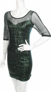 Zielona sukienka Italia Moda z długim rękawem mini z okrągłym dekoltem