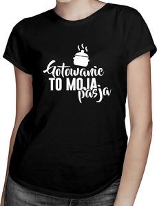 Czarny t-shirt Koszulkowy z bawełny z krótkim rękawem w młodzieżowym stylu