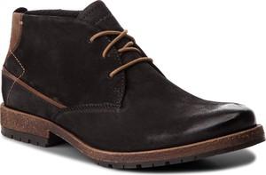 Brązowe buty zimowe Lasocki For Men sznurowane ze skóry w stylu casual