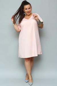 Sukienka KARKO z krótkim rękawem dla puszystych midi