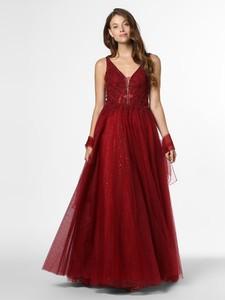 Czerwona sukienka Mascara z dekoltem w kształcie litery v maxi na ramiączkach