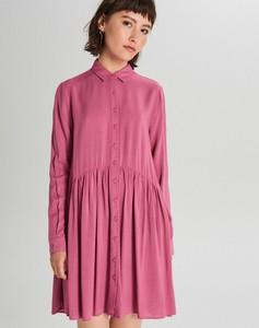 Różowa sukienka Cropp oversize z długim rękawem mini