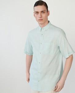 Turkusowa koszula Reserved z krótkim rękawem z kołnierzykiem button down
