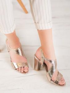 Złote sandały Czasnabuty na obcasie na średnim obcasie