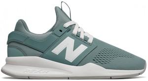 Miętowe buty sportowe New Balance sznurowane w sportowym stylu z płaską podeszwą