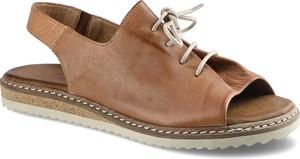 Brązowe sandały Lanqier z płaską podeszwą