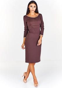 Brązowa sukienka Fokus midi ołówkowa z długim rękawem