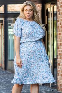 Niebieska sukienka KARKO w stylu casual trapezowa hiszpanka