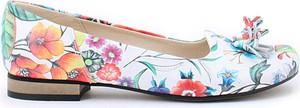 Zapato balerinki - skóra naturalna - model 009 - kolor kwiatek