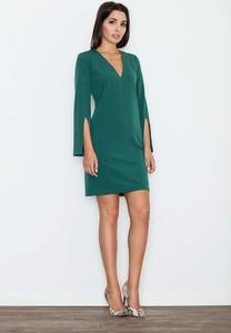 Zielona sukienka Figl mini z dekoltem w kształcie litery v