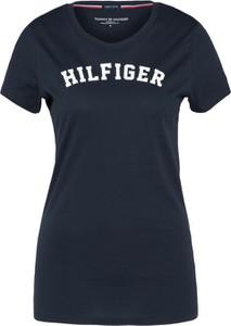 Granatowa bluzka Tommy Hilfiger Underwear z tkaniny z krótkim rękawem