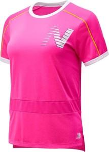 Różowy t-shirt New Balance z krótkim rękawem
