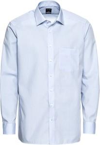 Niebieska koszula Olymp z długim rękawem z klasycznym kołnierzykiem