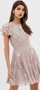 Różowa sukienka Asos Design mini z krótkim rękawem