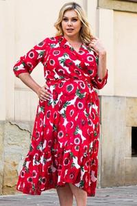Czerwona sukienka KARKO z szyfonu