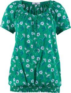 Zielona bluzka bonprix bpc bonprix collection z krótkim rękawem