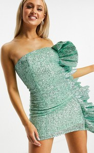 Zielona sukienka Club L London z krótkim rękawem