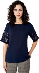 Granatowa bluzka POTIS & VERSO z okrągłym dekoltem