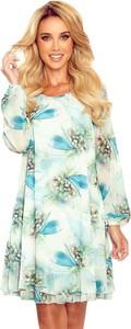 Sukienka NUMOCO w stylu casual z okrągłym dekoltem z długim rękawem