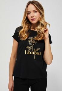 Czarny t-shirt Moodo z krótkim rękawem z okrągłym dekoltem