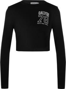 Bluzka Calvin Klein z okrągłym dekoltem w stylu casual z długim rękawem