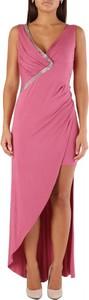 Różowa sukienka Met maxi bez rękawów z dekoltem w kształcie litery v