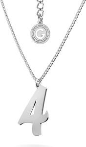 GIORRE Srebrna cyfra naszyjnik pancerka, srebro 925 : Cyfry - 4, Kolor pokrycia srebra - Platyną