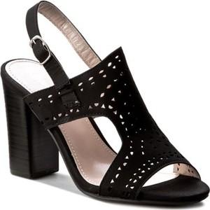 Czarne sandały Jenny Fairy z klamrami na wysokim obcasie