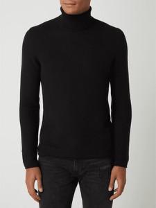Czarny sweter Montego z bawełny z golfem