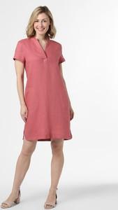 Różowa sukienka Apriori z lnu trapezowa