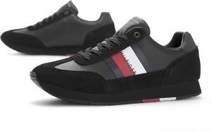 Czarne buty sportowe Tommy Hilfiger ze skóry