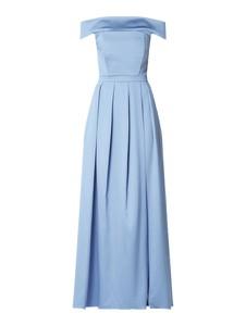 Niebieska sukienka Marie Blanc z odkrytymi ramionami
