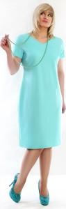 Miętowa sukienka Oscar Fashion z dekoltem w kształcie litery v midi
