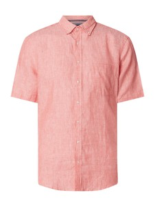 Różowa koszula Christian Berg Men z krótkim rękawem z lnu