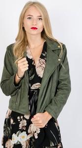 Zielona kurtka Olika z zamszu krótka