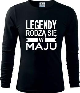 Czarna koszulka z długim rękawem TopKoszulki.pl z bawełny w młodzieżowym stylu z długim rękawem
