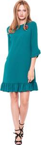 Zielona sukienka L'AF mini z długim rękawem