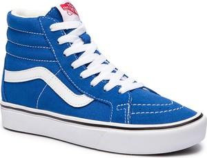 Niebieskie trampki Vans sk8-hi z zamszu z płaską podeszwą