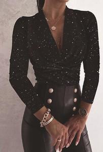 Czarna bluzka Sandbella z długim rękawem w stylu casual