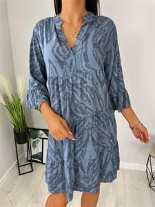 Niebieska sukienka ModnaKiecka.pl mini w stylu casual z długim rękawem