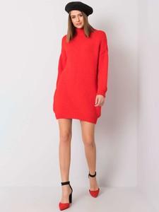 Czerwona sukienka Sheandher.pl z długim rękawem z golfem mini