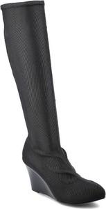 Czarne kozaki Massimo Poli przed kolano ze skóry na zamek