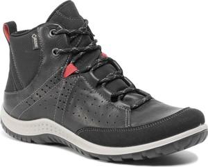 Brązowe buty trekkingowe Ecco z goretexu z płaską podeszwą