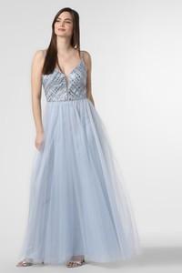 Niebieska sukienka Luxuar Fashion maxi na ramiączkach rozkloszowana