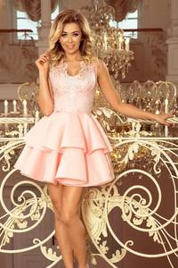 Różowa sukienka NUMOCO rozkloszowana mini bez rękawów
