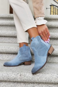Niebieskie botki Casu z płaską podeszwą w stylu casual