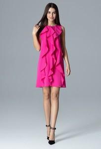 Różowa sukienka Figl z okrągłym dekoltem mini bez rękawów