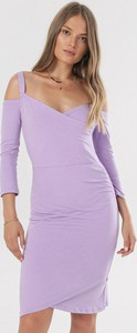 Fioletowa sukienka born2be z dekoltem w kształcie litery v w stylu casual z długim rękawem
