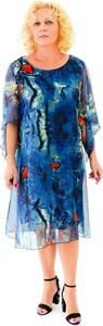 Niebieska sukienka Roxana - sukienki w stylu casual midi dla puszystych