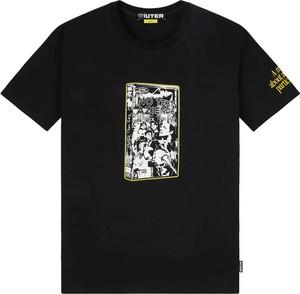 Czarny t-shirt Iuter z bawełny z nadrukiem
